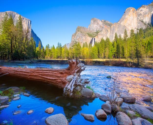 Yosemite merced river el capitán y half dome