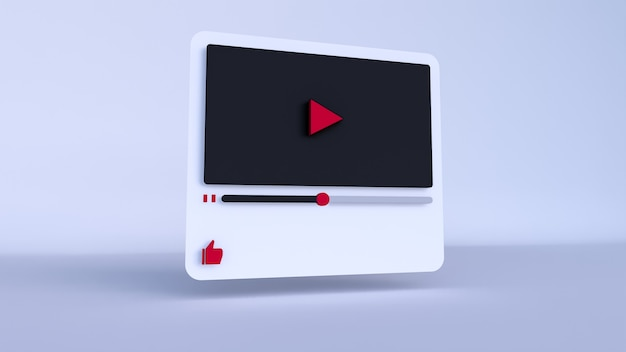 Youtube video player 3d design o video media player interface