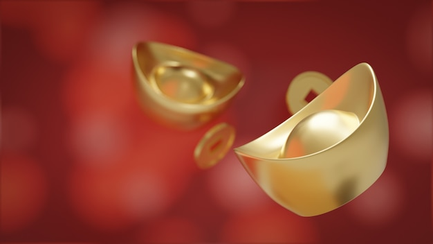 Yuan bao. sycee y moneda de oro chino aislado en rojo