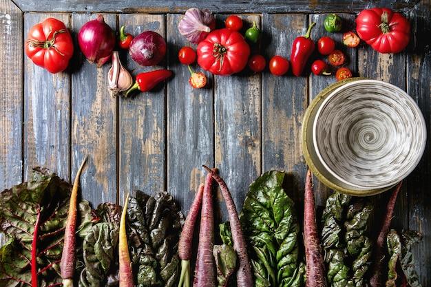 Zanahoria morada con verduras