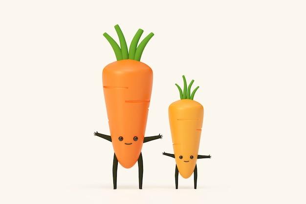 La zanahoria y la zanahoria bebé vegetales vegetales ilustración de modelado 3d rinden, concepto de comida sana