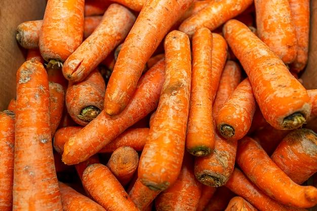 Zanahorias frescas en un mostrador de la tienda. nutrición saludable y vitaminas. de cerca.