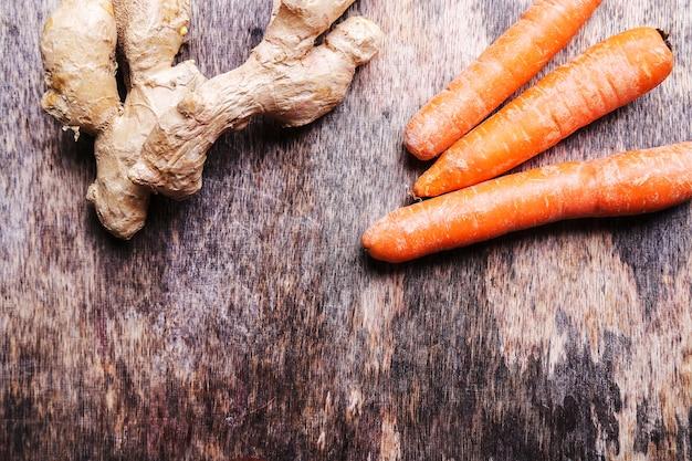 Zanahorias y raíz de jengibre