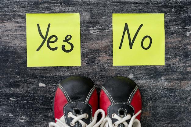 Zapatillas. la elección entre sí y no.