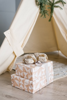 Las zapatillas de niños en forma de erizos están en cajas de regalo.