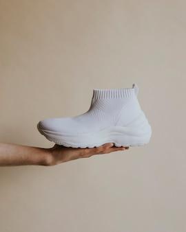 Zapatillas slip-on altas de punto simples blancas