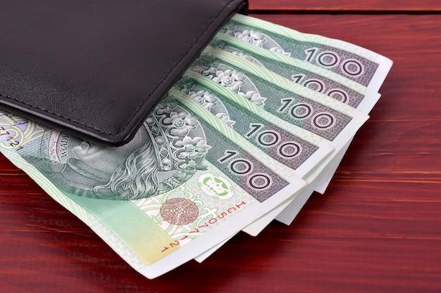 Zloty polaco en la billetera negra