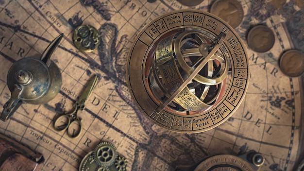 Zodiac globe; esfera armilar de latón