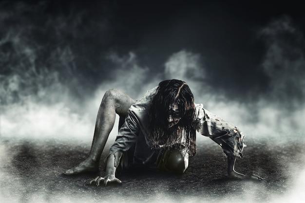 Zombi de bruja de terror. víspera de todos los santos.