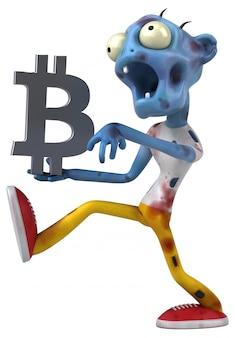 Zombie y bitcoin - personaje 3d