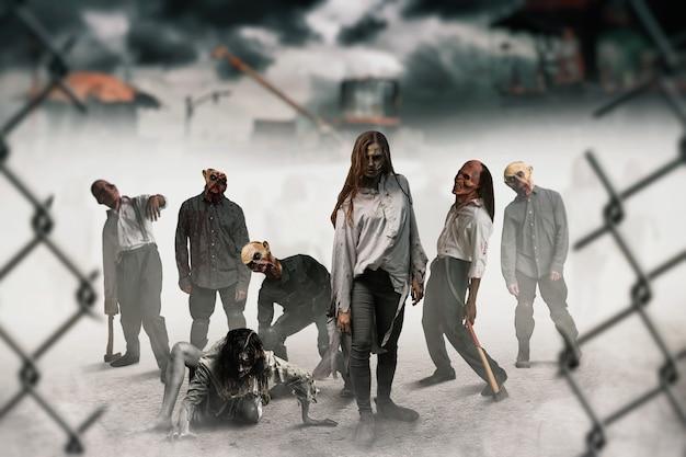 Zombies en el sitio de construcción, los monstruos cobraron vida. horror en la ciudad, ataque de bichos espeluznantes, apocalipsis del fin del mundo
