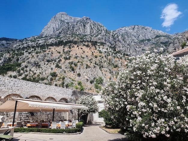 Zona de descanso, montañas rocosas en kotor, montenegro