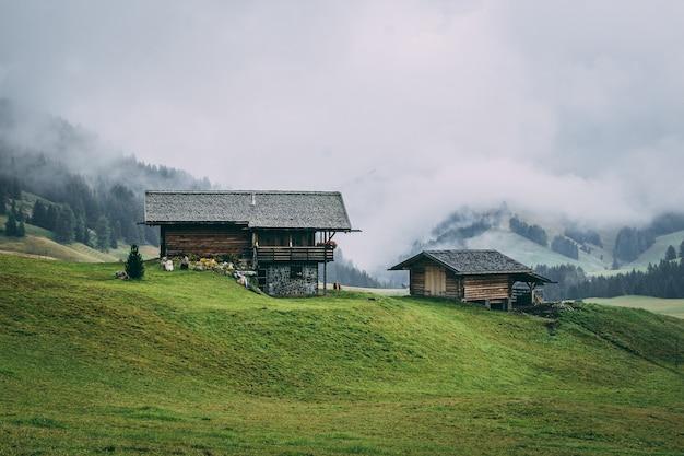 Zona rural con casas de madera rodeadas de bosques con colinas cubiertas de niebla en el