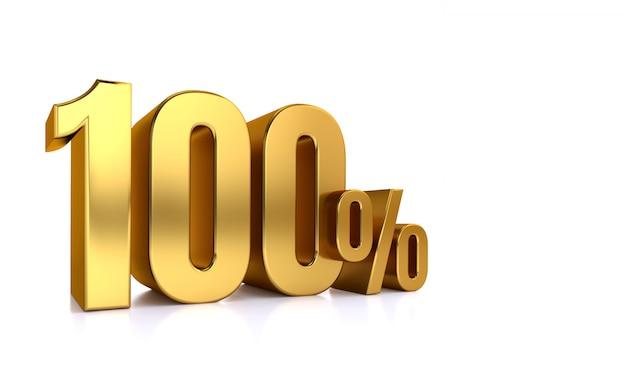 100% di sconto. in vendita. ottimo affare cento. metà. illustrazione rendering testo 3d isolato con grandi caratteri dorati su sfondo bianco.