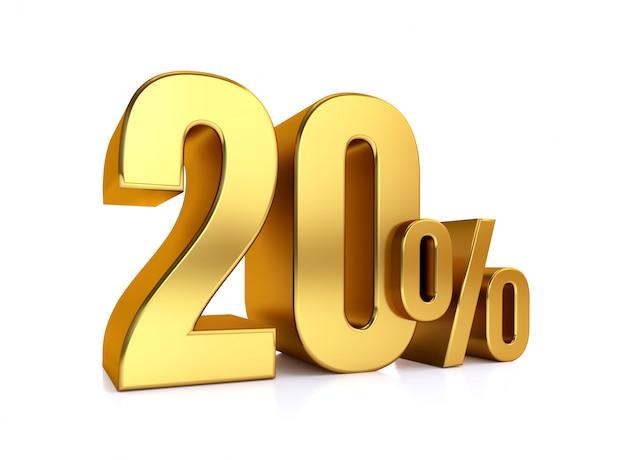 20 percento su sfondo bianco. sconto del metallo dell'oro della rappresentazione 3d. 20%