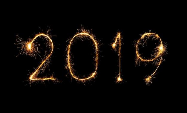 2019 felice anno nuovo con i fuochi d'artificio sparkle
