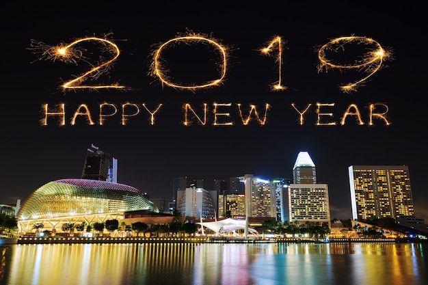 2019 happy new year firework sparkle with singapore at night