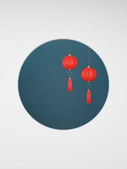 2020 capodanno cinese. lanterna cinese rossa che appende su una priorità bassa blu