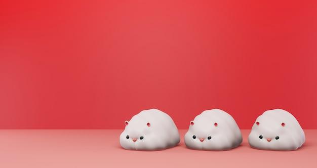 2020 capodanno cinese. molti topi carini su un rosso. anno del ratto