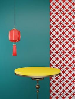 2020 capodanno cinese. podio giallo vuoto per prodotto attuale e lanterna cinese rossa sulla parete verde