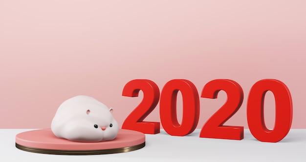 2020 capodanno cinese. ratto carino sul podio sul cerchio colorato. anno del ratto