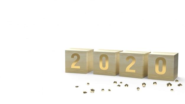 2020 numero d'oro sul cubo di legno
