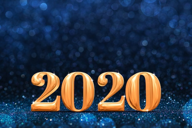 2020 nuovi anni d'oro rendering 3d in prospettiva scintillio blu scuro scintillante astratta