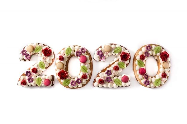 2020 torta sulla superficie bianca concetto di capodanno
