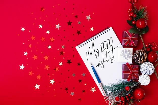 2020 wishlist nuovo anno testo sul blocco note