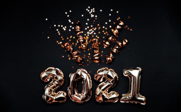 2021 numeri di palloncini in lamina d'oro con coriandoli