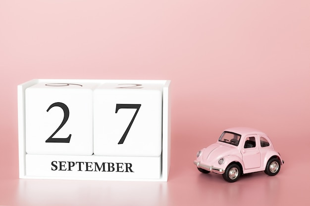 27 settembre. giorno 27 del mese. cubo calendario con auto