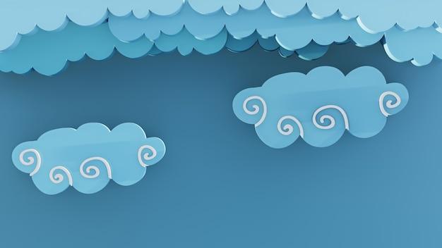 3d astratto nuvola con sfondo blu