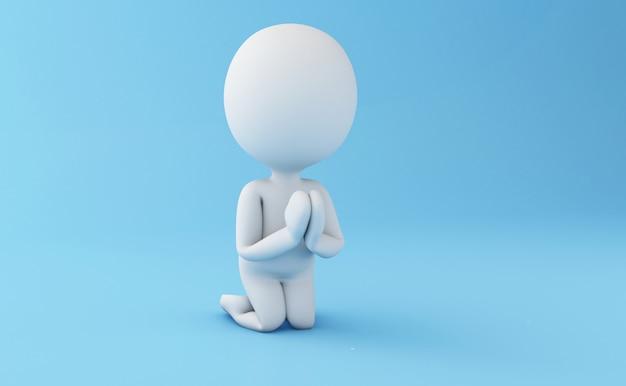 3d bianchi in una postura di preghiera.
