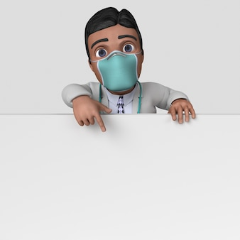 3d cartoon doctor character in maschera facciale
