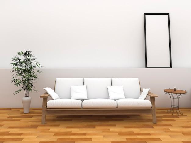 3d che minimizza la stanza di stile con il banco di stile dell'annata
