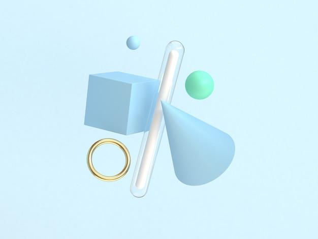 3d che rende a forma geometrica astratta che galleggia fondo blu minimo