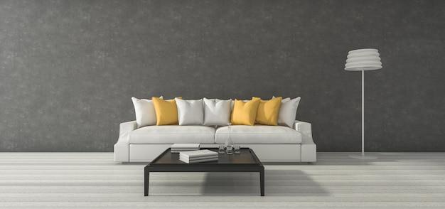 3d che rende ampia la stanza grigia del granaio minimo con il sofà e la decorazione gialli