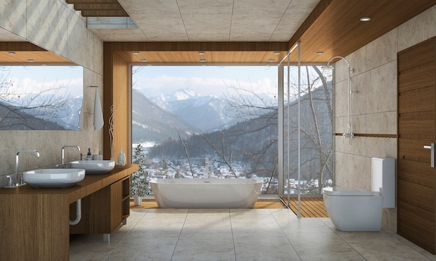 3d che rende bagno classico moderno con la decorazione delle mattonelle di lusso con la vista piacevole della natura dalla finestra