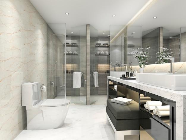 3d che rende bagno classico moderno con la decorazione delle mattonelle di lusso