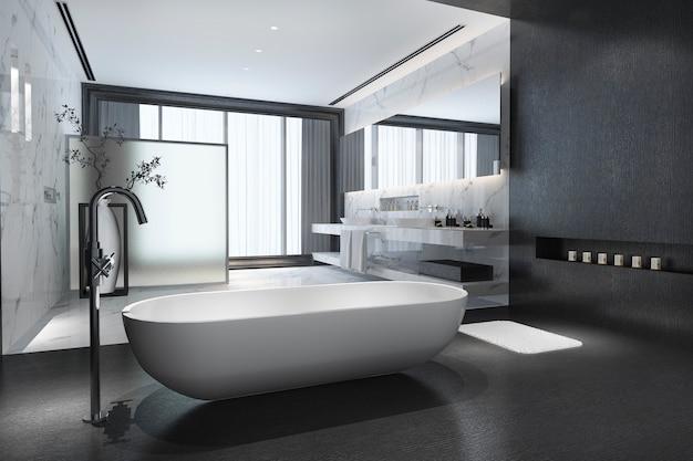 3d che rende bagno di pietra nero moderno con la decorazione di lusso delle mattonelle con la vista piacevole della natura dalla finestra