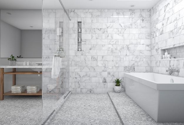 3d che rende bagno minimo moderno con la decorazione scandinava e la vista piacevole della natura dalla finestra