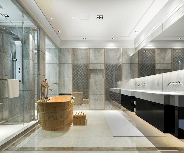 3d che rende bagno moderno classico con la decorazione di lusso delle mattonelle