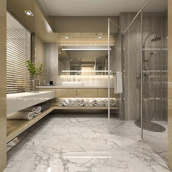 3d che rende bagno moderno con la decorazione di lusso delle mattonelle