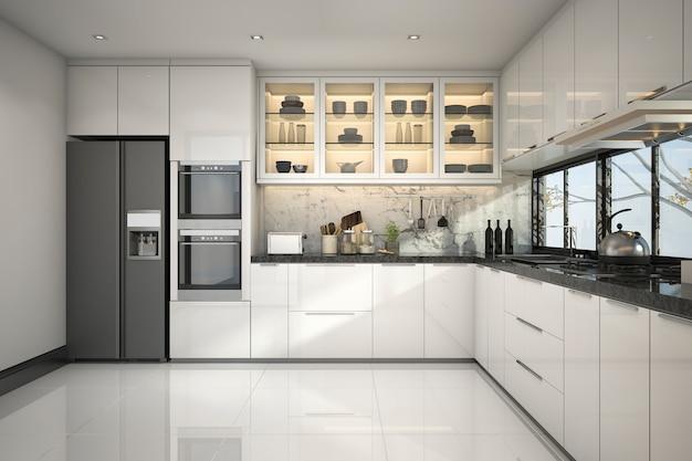3d che rende bella cucina moderna con la decorazione di marmo