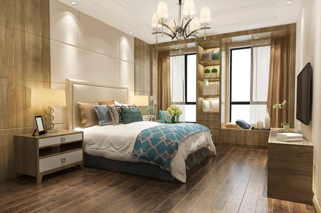 3d che rende camera da letto di legno contemporanea
