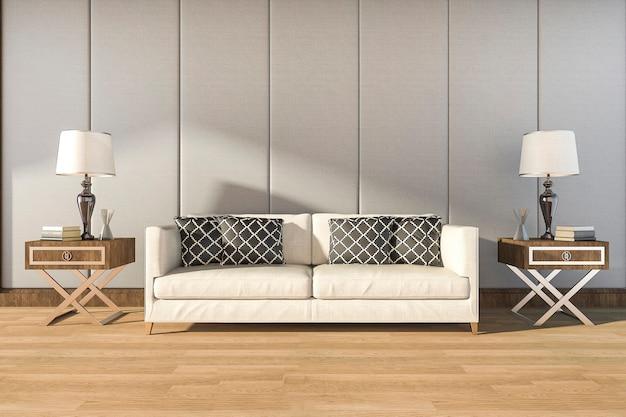 3d che rende comodo sofà bianco nella stanza calda