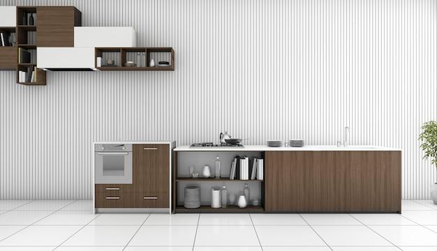 3d che rende contro cucina di legno scura nella stanza bianca