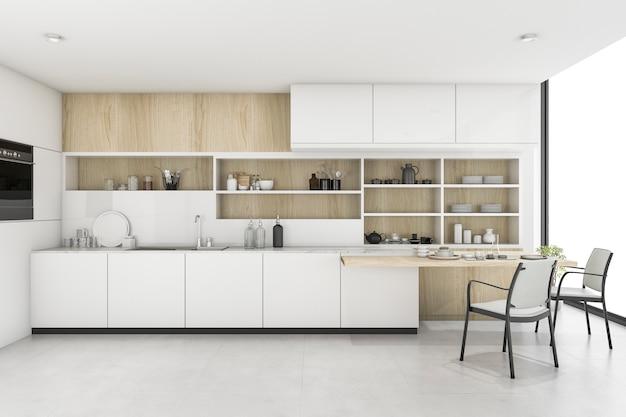 3d che rende cucina bianca con la decorazione minima di stile