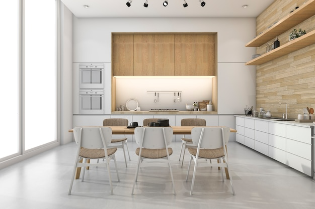 3d che rende cucina minima bianca con la decorazione di legno incorporata