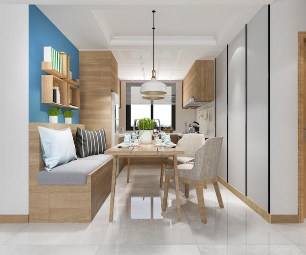 3d che rende cucina minima bianca con la decorazione di lusso